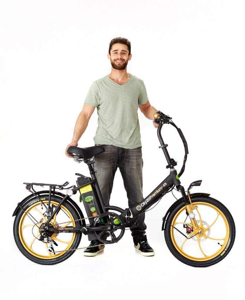 Man with 2018 City Premium Black and Gold E-Bike