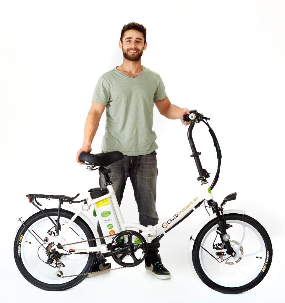 man with 2018 City Premium All White Ebike