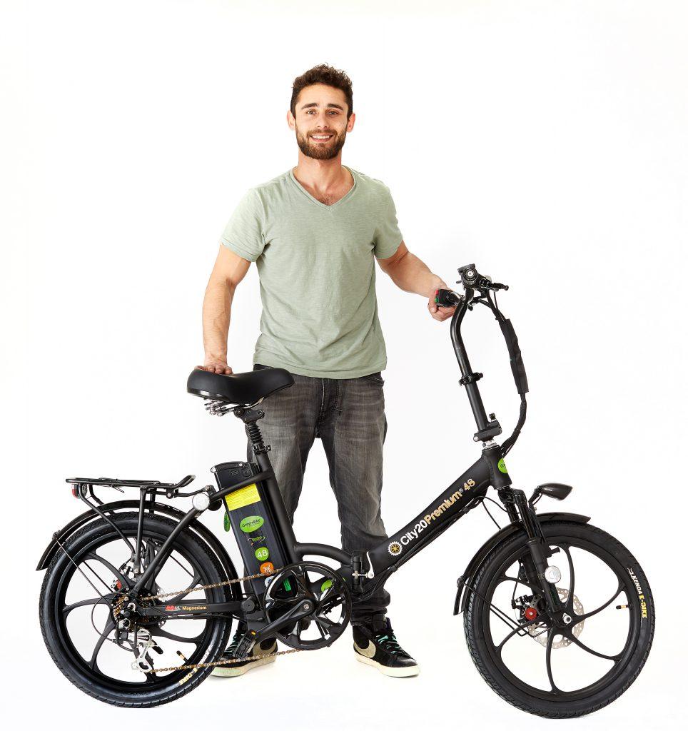 Man with 2018 City Premium All Black E bike