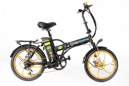 2018 City Hybrid Black and Gold E-Bike by GreenBike