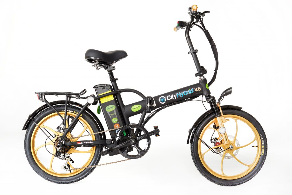 2018 City Hybrid Black and Gold E-Bike by GreenBike