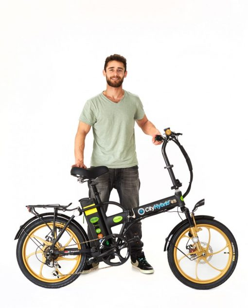Man with 2018 City Hybrid Black and Gold E-Bike