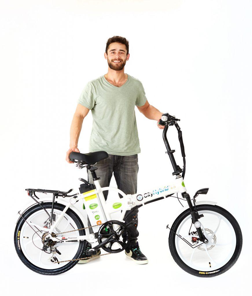 Man with 2018 City Hybrid All White E-Bike