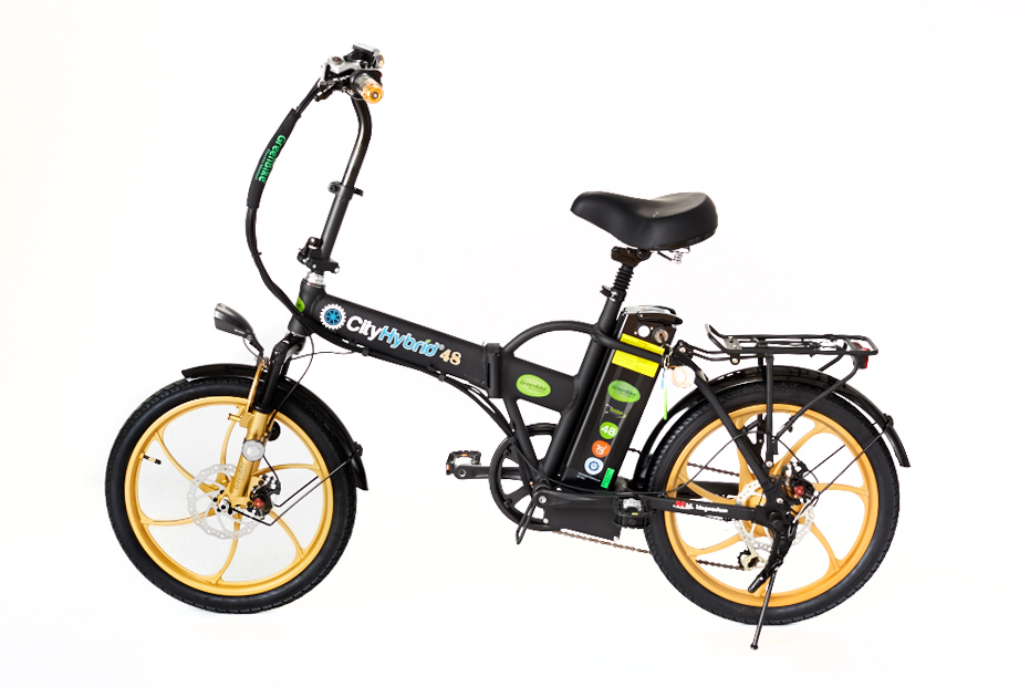 Buy online 2018 City Hybrid Black and Gold E-Bike