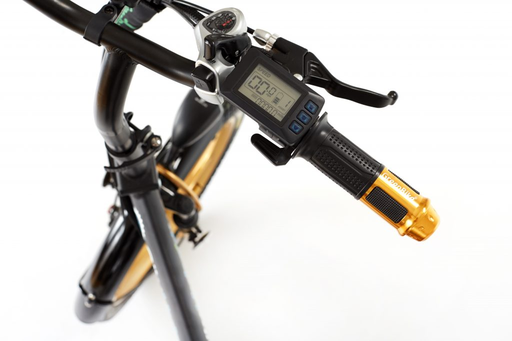 2018 City Hybrid Black and Gold EBike LCD Backlit