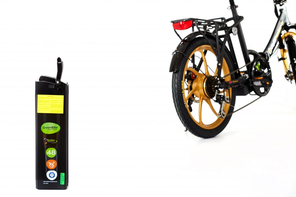 2018 City Premium Black and Gold E-Bike battery